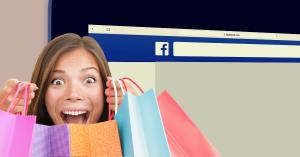 ragazza con buste per shopping e facebook shop logo su backgroung