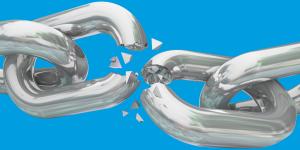 catena spezzata su fondo azzurro digital divide
