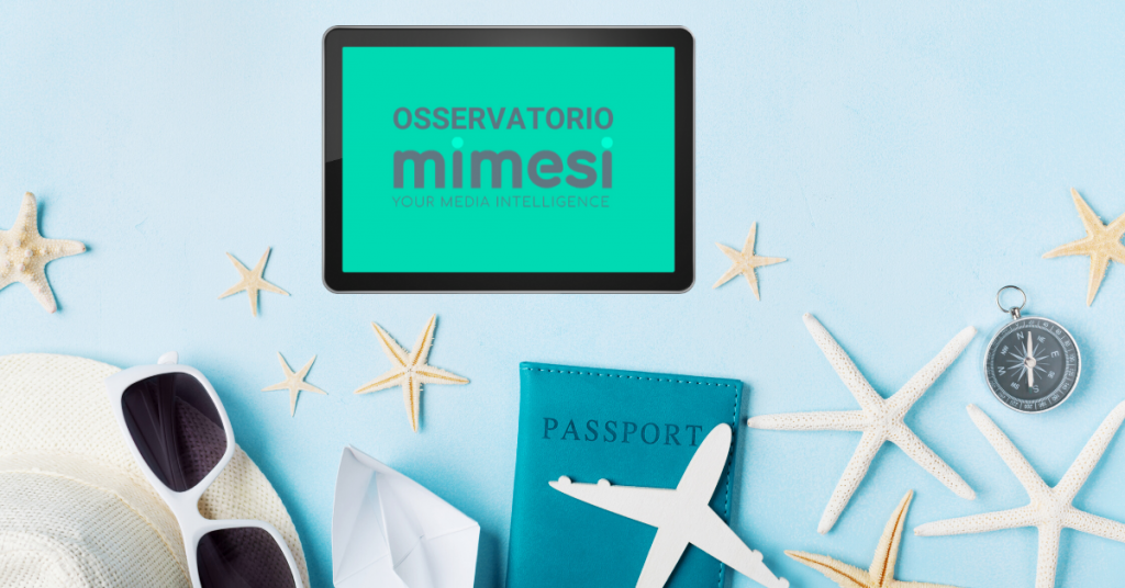 turismo occhiali e passaporto con tablet e logo mimesi